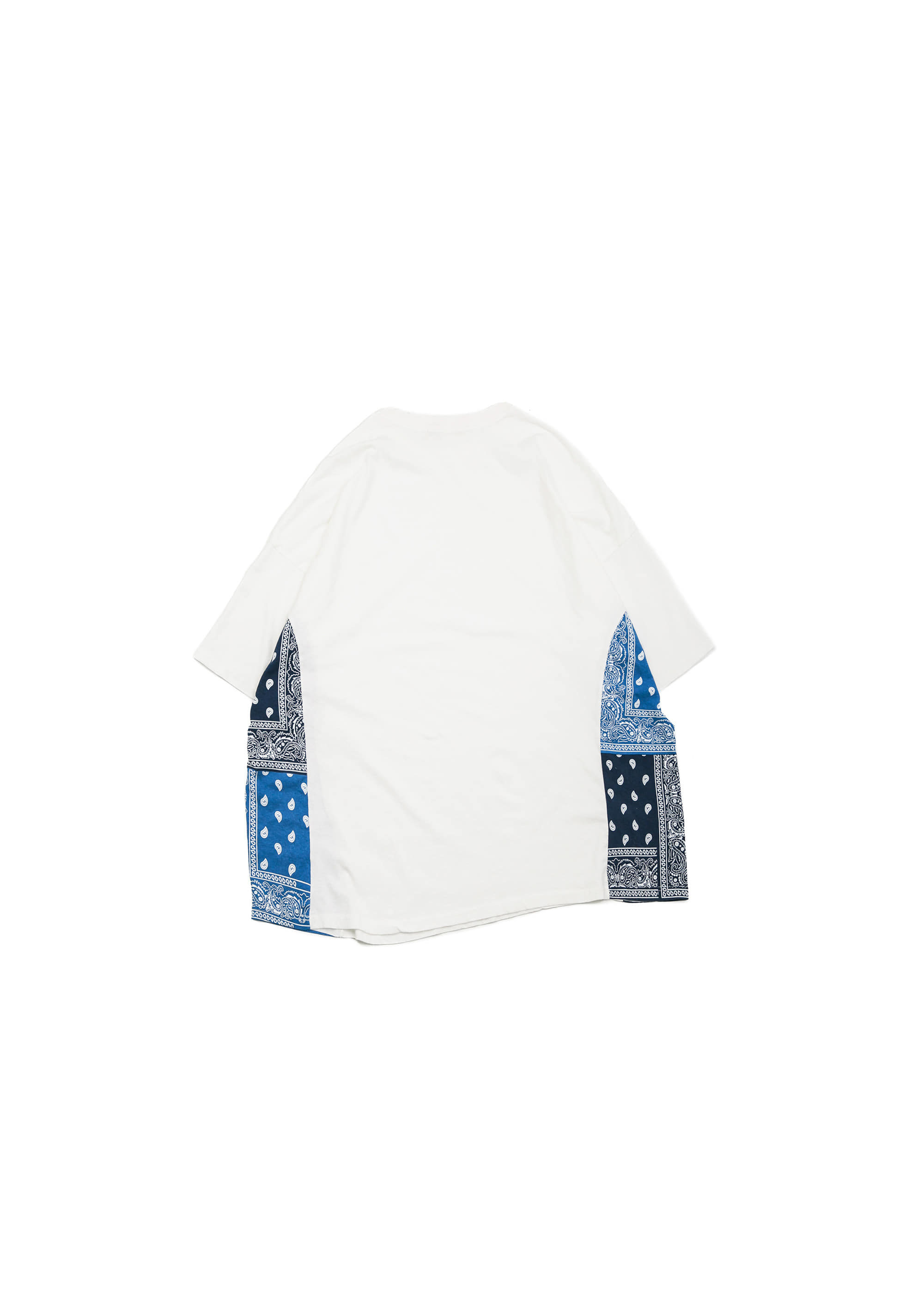 Side Paisely Half Tee - White