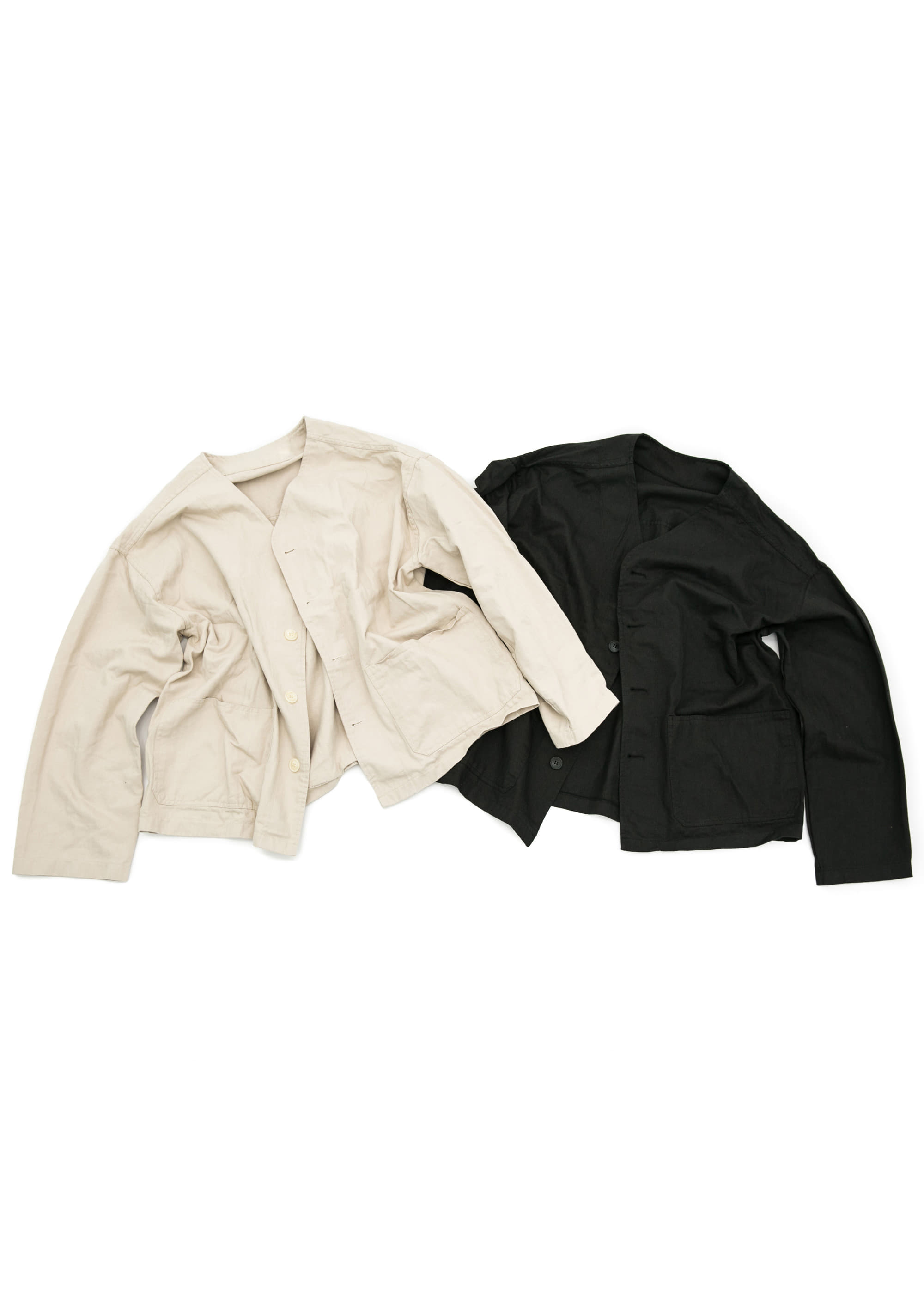 Non Collar Cotton Jacket - 2color