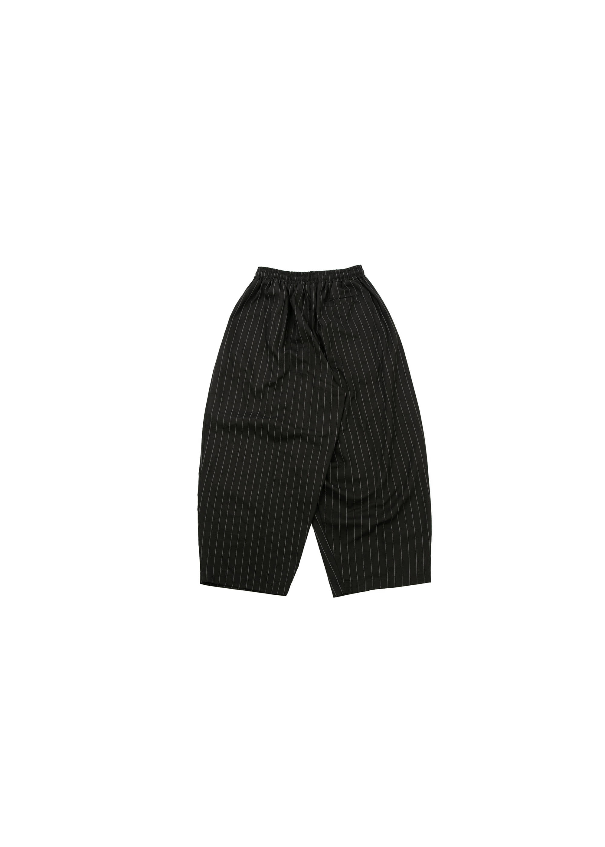 Linen Stripe Wide Pants - Black