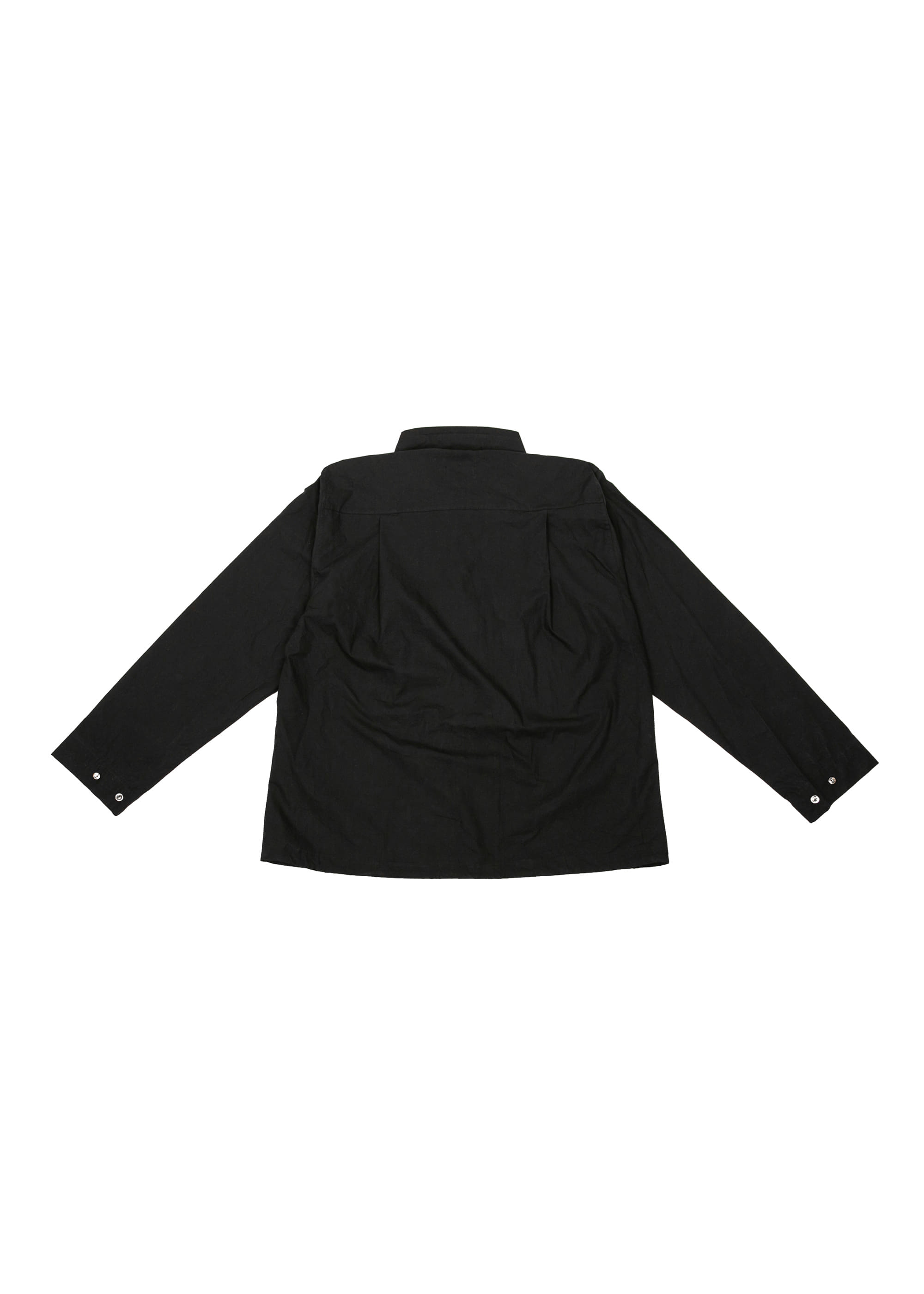 Neck String Shirts Jacket - Black