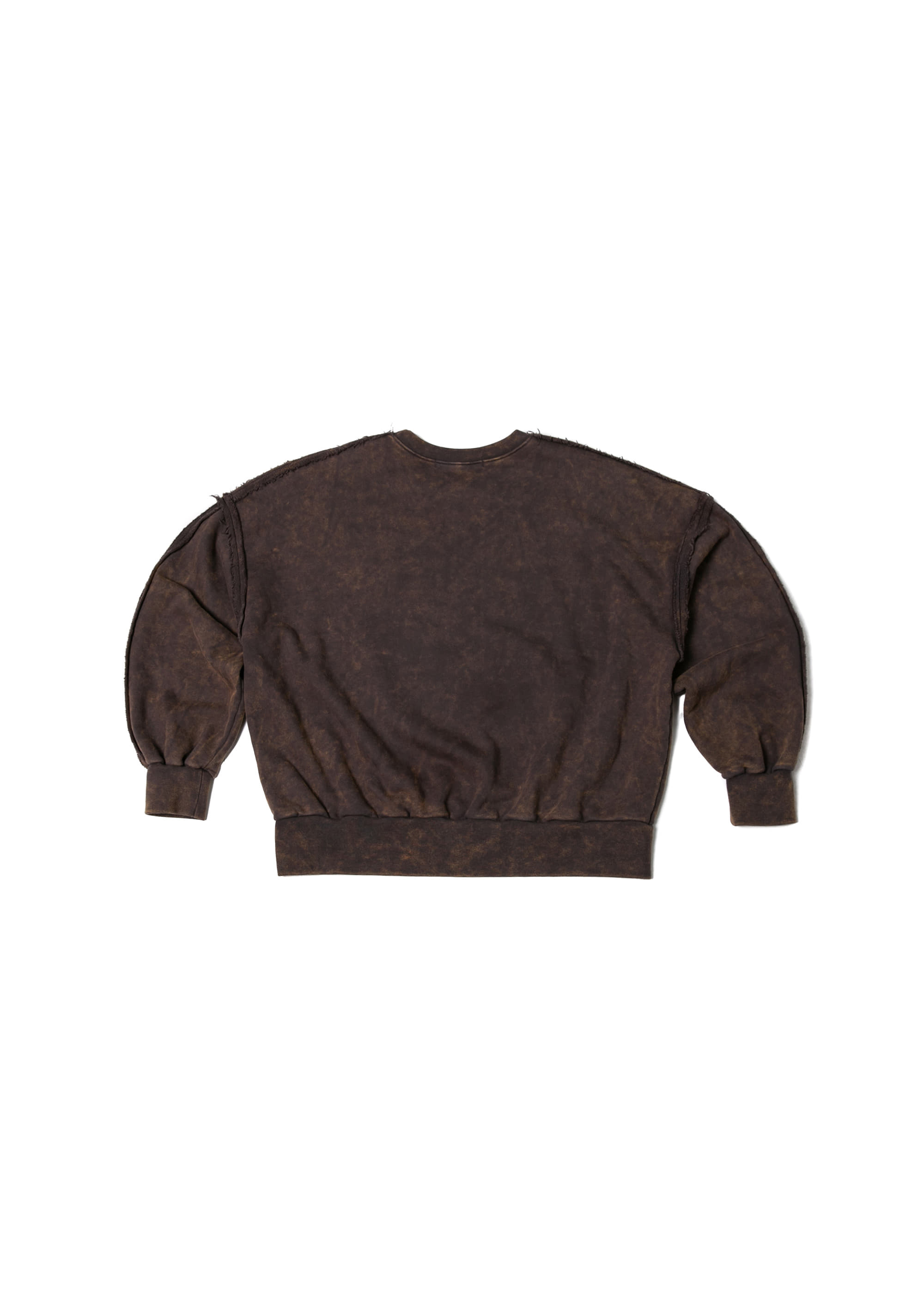 Snow Washing Cutting Sweat Shirts - Brown