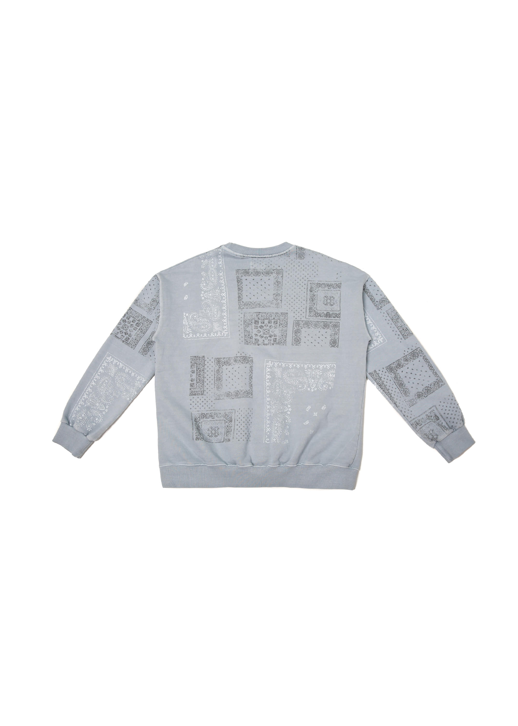 Paisley Pigment Washing Sweat Shirts - Sky Blue
