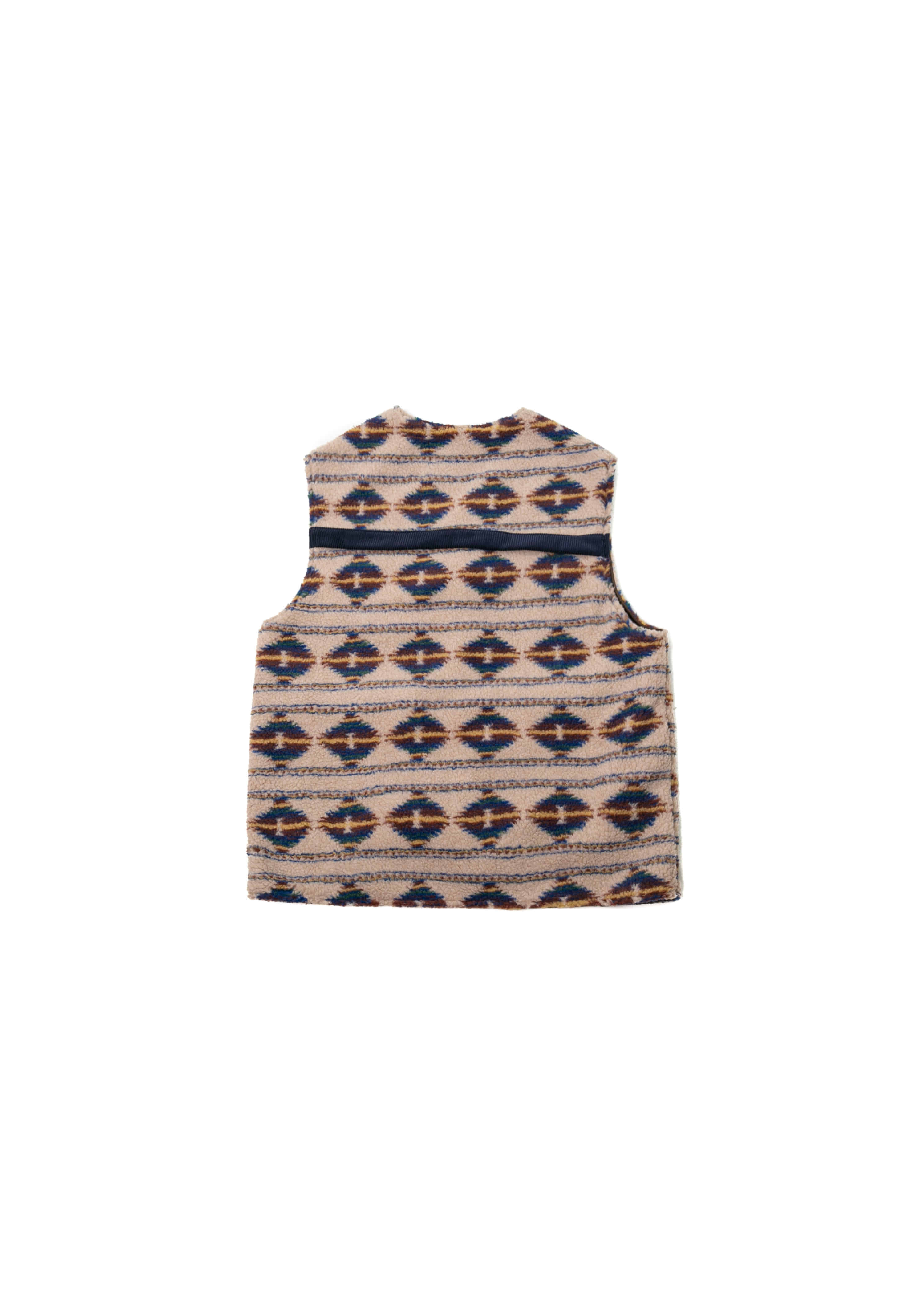 Reversible Navajo Fleece Vest - Beige