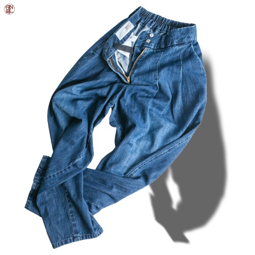 Washing Denim Easy Balloon Pants - Dark Blue