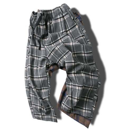 Wool Tartan Check Balloon Pants - 2color