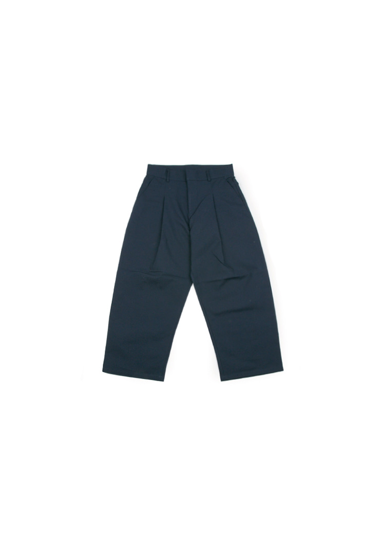 Wide Cotton Pintuck Pants - Navy