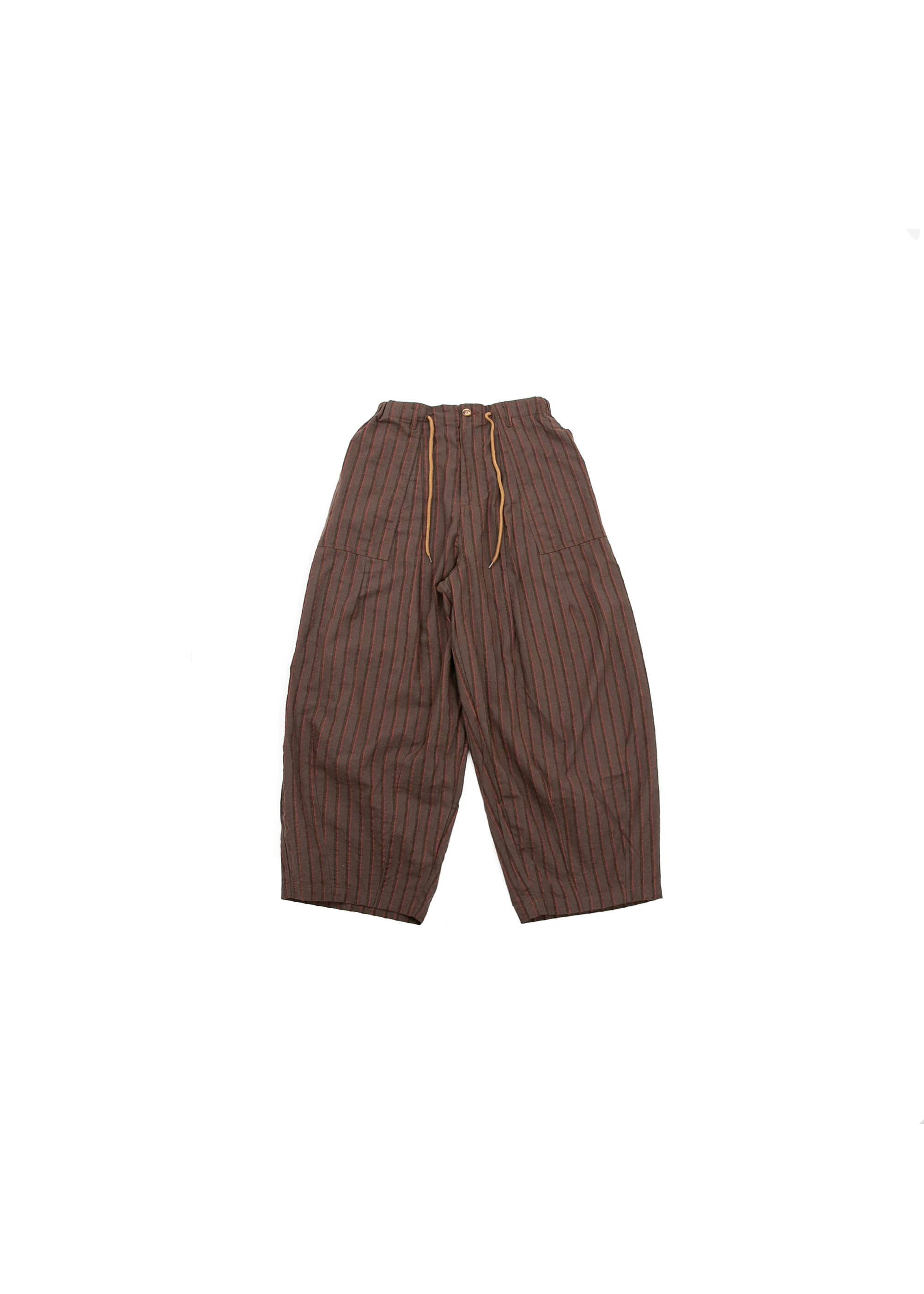 Stripe Fatigue Out Balloon Pants - Brown