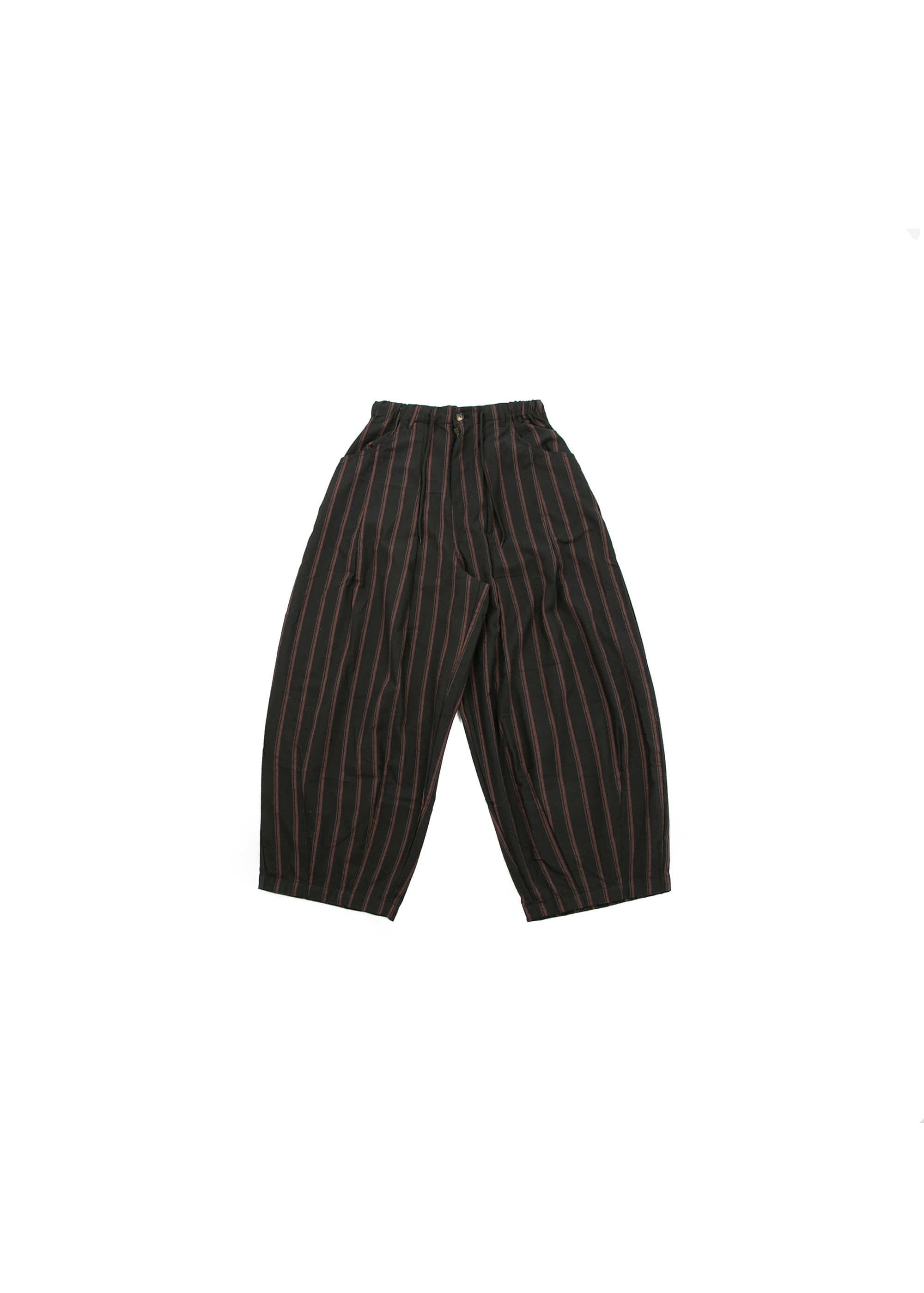 Stripe Work Balloon Pants - Black