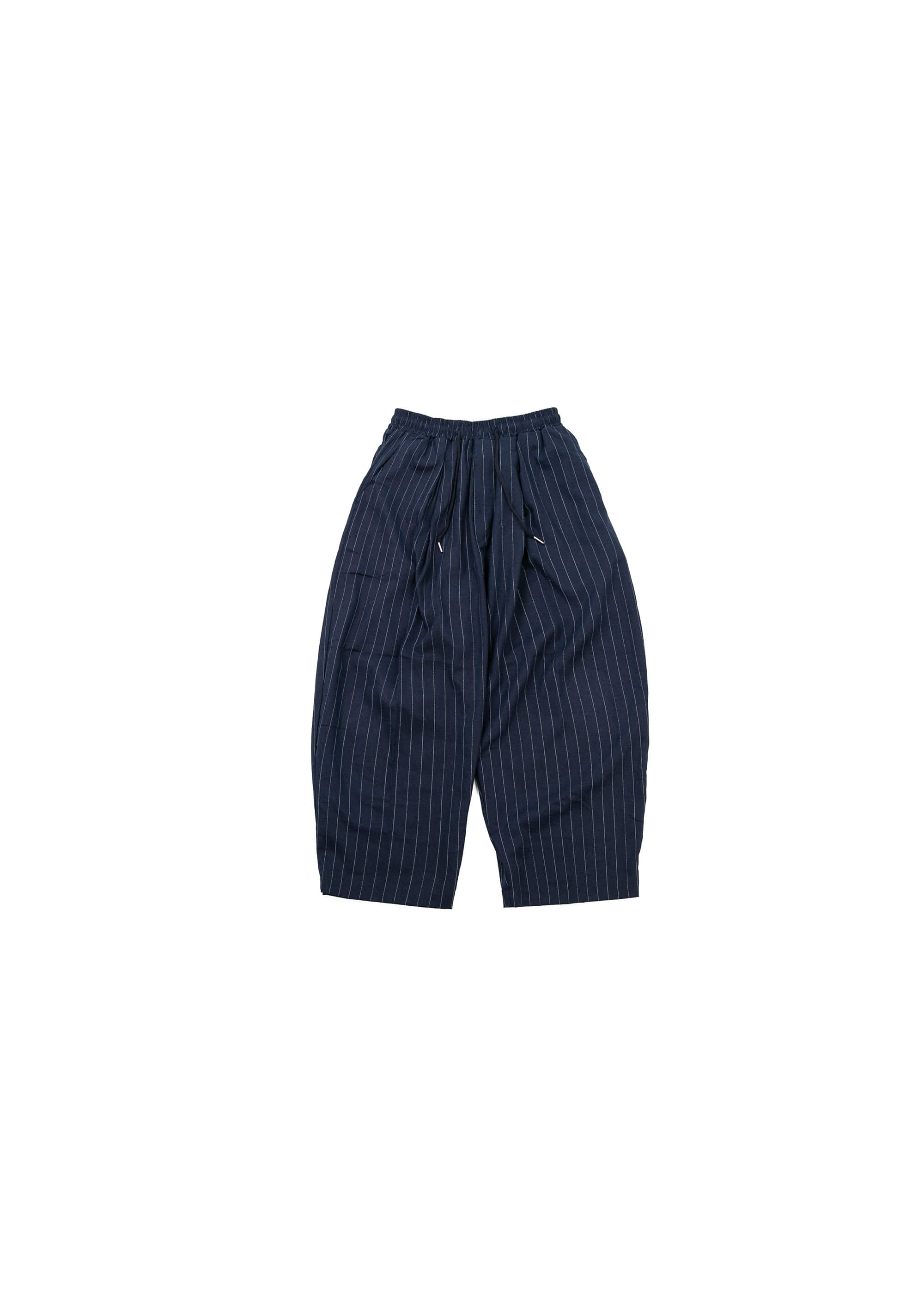 Linen Stripe Wide Pants - Navy