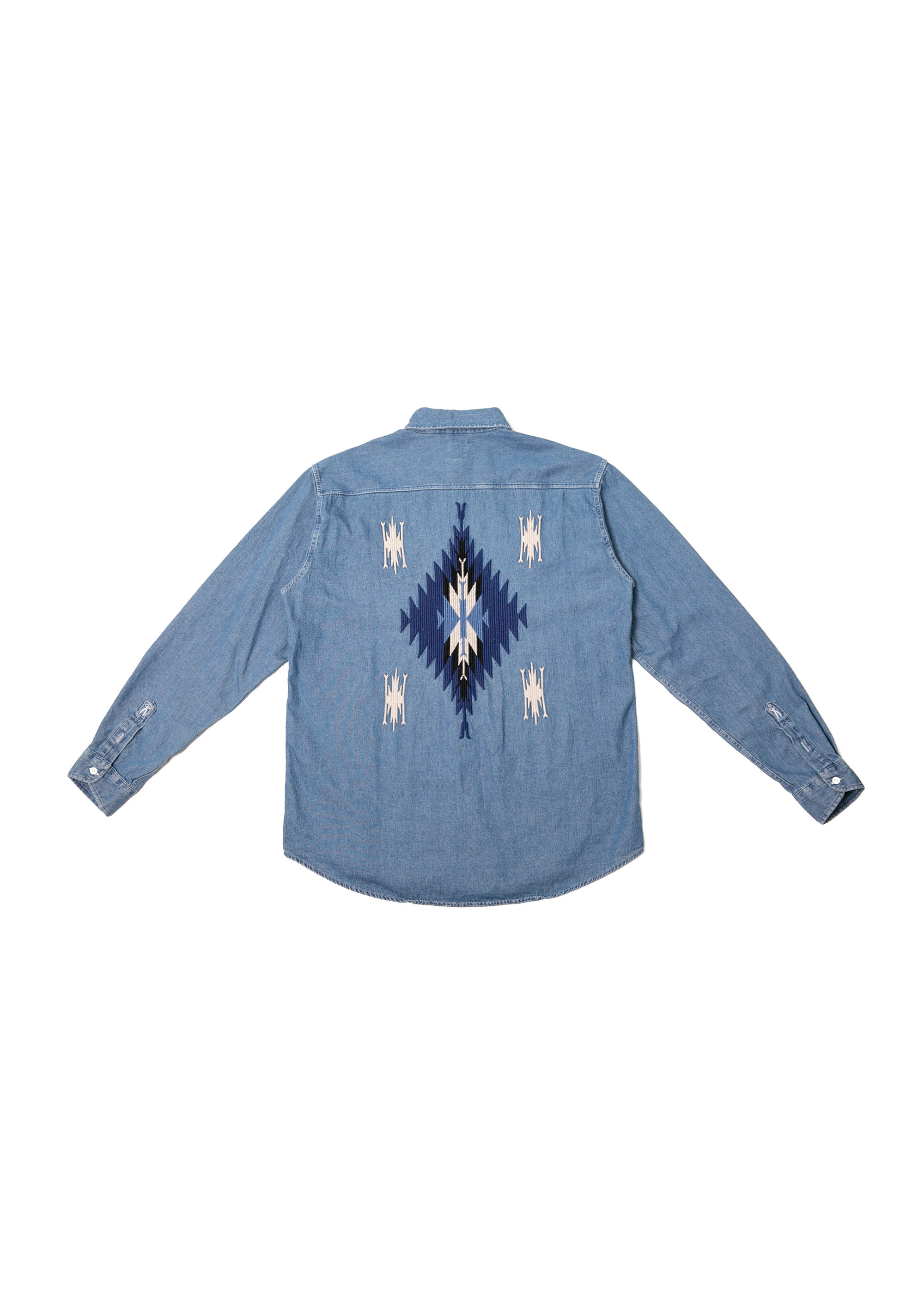 Navajo Button-Down Denim Shirts - Mid Blue