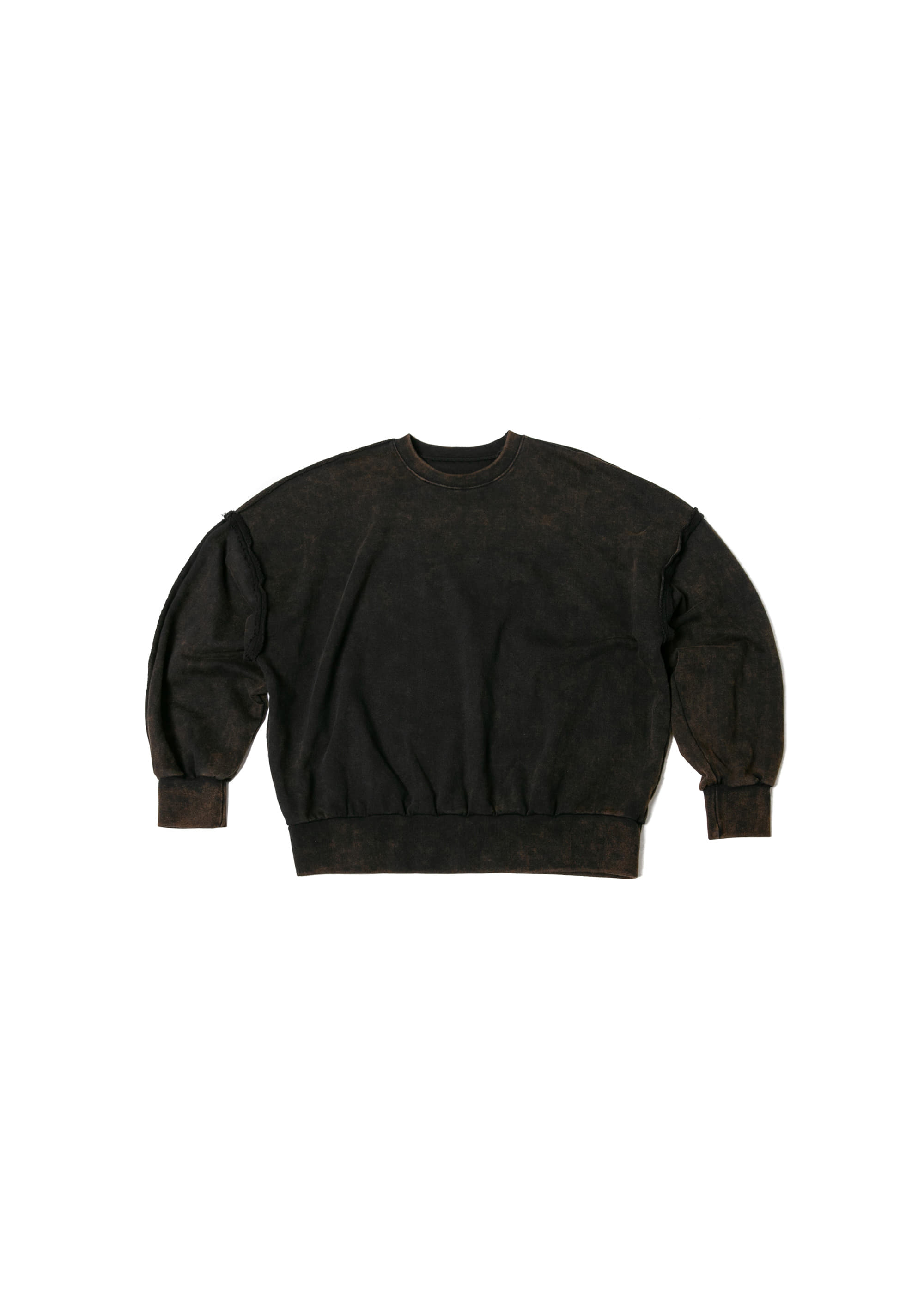 Snow Washing Cutting Sweat Shirts - Dark Brown