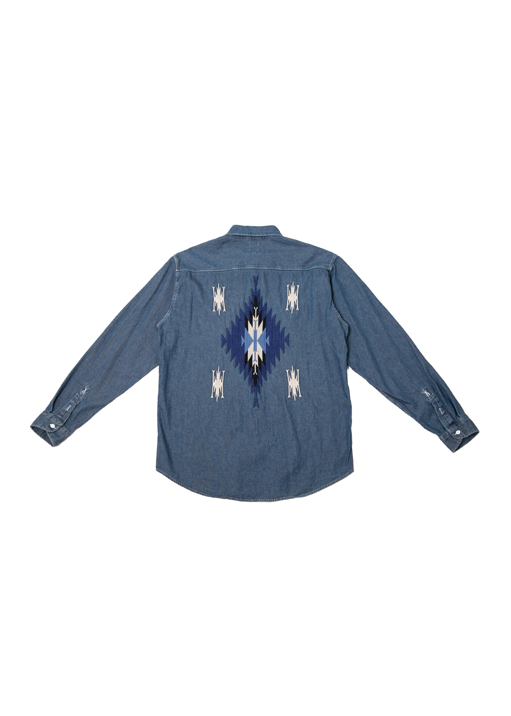 Navajo Button-Down Denim Shirts - Dark Blue