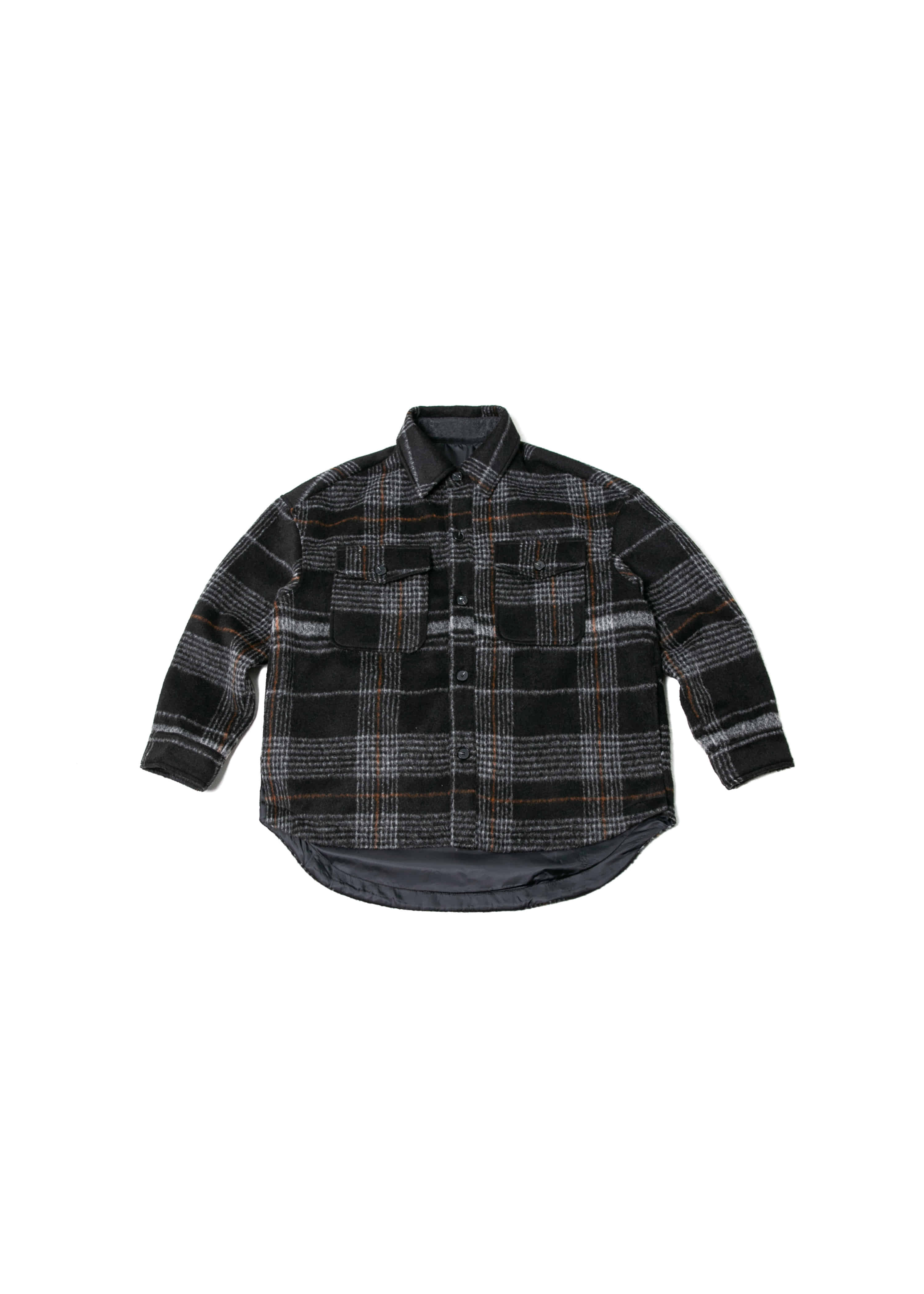 Wool Check Over Shirts Jacket - Black