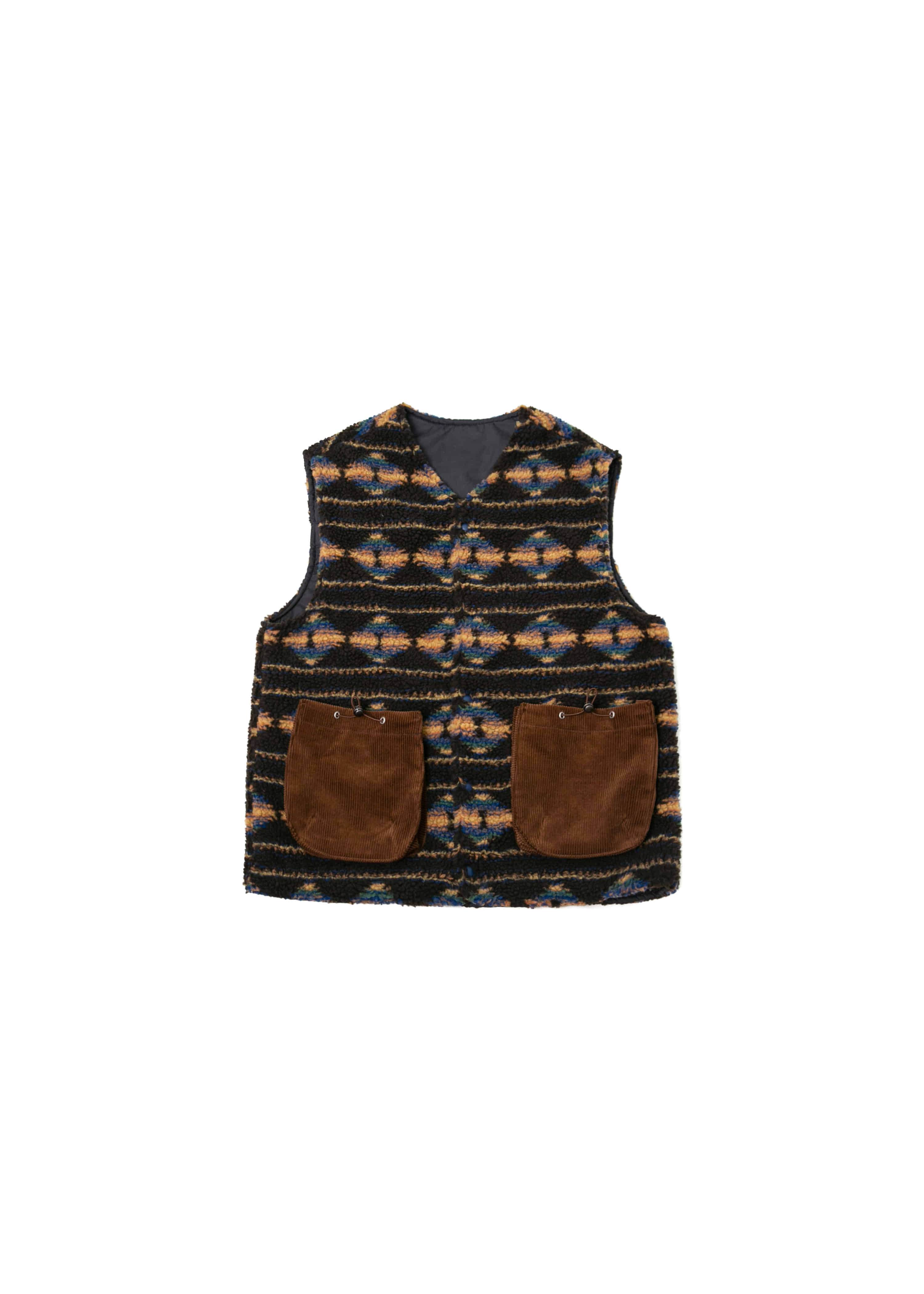 Reversible Navajo Fleece Vest - Brown