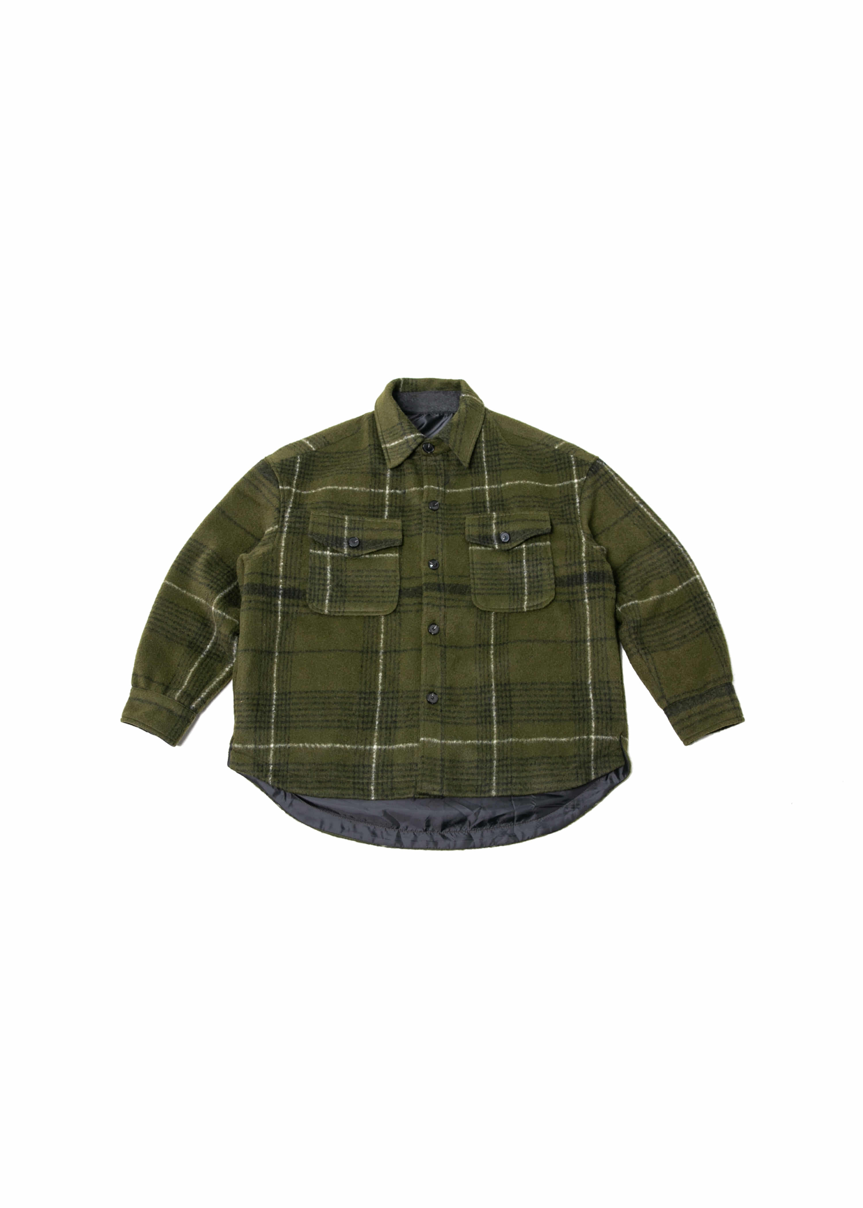 Wool Check Over Shirts Jacket - Olive Green