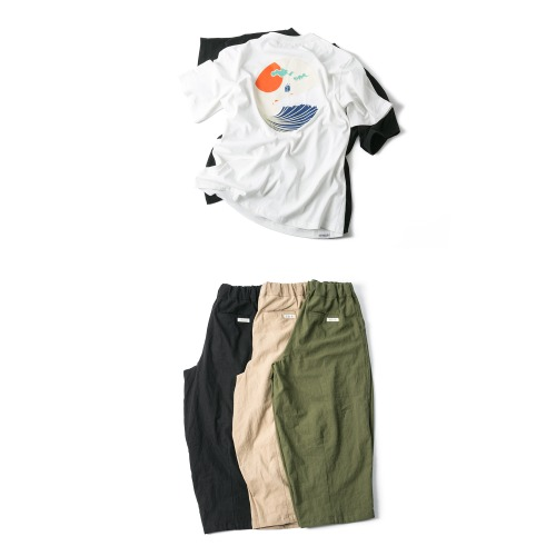 Japan Wave Tee & Linen Balloon Pants - 2color